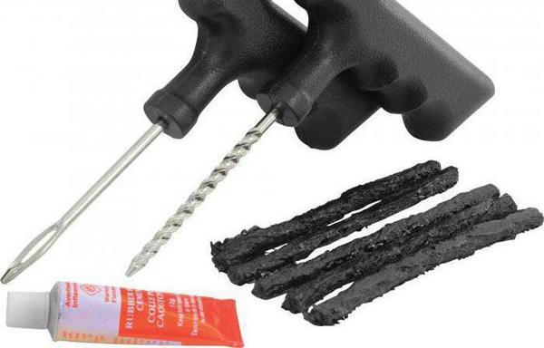 ремонт прокола шины жгутом